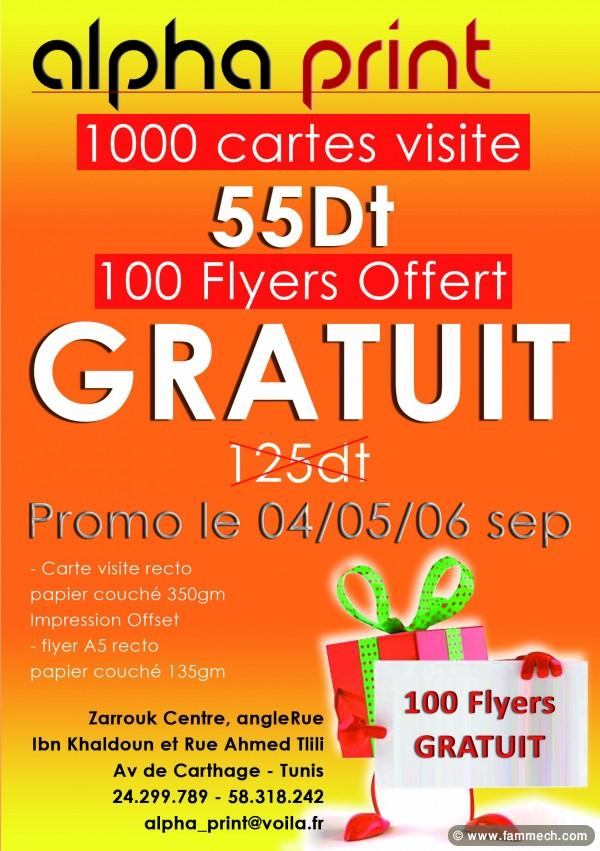 bonnes affaires tunisie mat riel pro 1000 cartes visite 100 flyer gratuit 55 dt. Black Bedroom Furniture Sets. Home Design Ideas