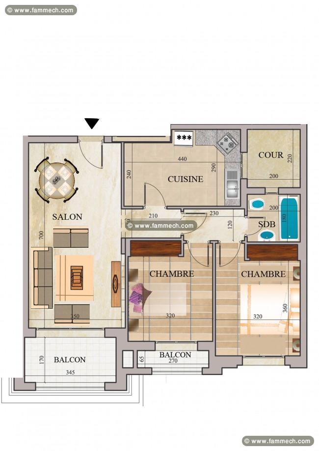 plan appartement s+2 tunisie