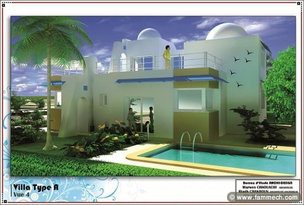 Immobilier tunisie vente maison hammam chatt villa lux for Villa avec jardin tunisie