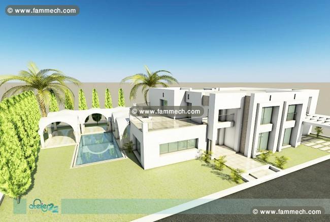 Immobilier tunisie vente maison hammamet villa sur plan for Architecture de maison moderne en tunisie
